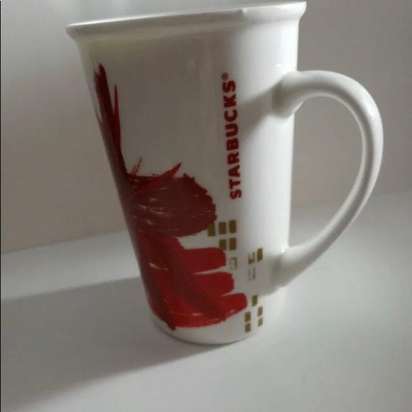 55d55e2f2e0 Starbucks Kitchen | Red And White Starburst 12 Oz Mug | Poshmark